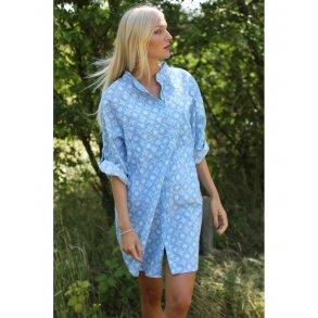 8d63ef36 Copenhagen Luxe Stor Skjorte i Bomuld Retro Mønster 1150 P30 Blue